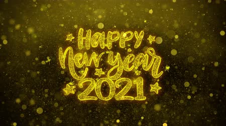 ano novo chinês : Happy New Year 2021 wish Text Golden Glitter Glowing Lights Shine Particles. Greeting card, Wishes, Celebration, Party, Invitation, Gift, Event, Message, Holiday, Festival 4K Loop Animation. Vídeos