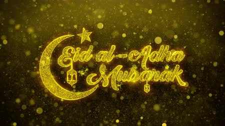 arap : Eid al-Adha mubarak wish Text Golden Glitter Glowing Lights Shine Particles. Greeting card, Wishes, Celebration, Party, Invitation, Gift, Event, Message, Holiday, Festival 4K Loop Animation.