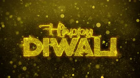 mángorlógép : Happy Diwali wish Text Golden Glitter Glowing Lights Shine Particles. Greeting card, Wishes, Celebration, Party, Invitation, Gift, Event, Message, Holiday, Festival 4K Loop Animation.