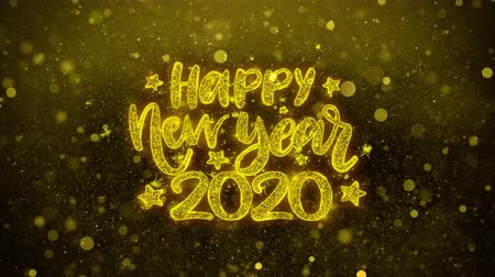 si přeje : Happy New Year 2020 wish Text Golden Glitter Glowing Lights Shine Particles. Greeting card, Wishes, Celebration, Party, Invitation, Gift, Event, Message, Holiday, Festival 4K Loop Animation.