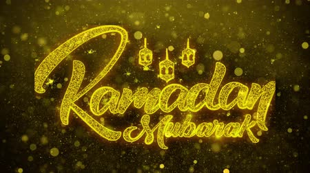calligrafia araba : Ramadan Mubarak desidero Testo Golden Glitter Glowing Lights Shine Particles. Cartolina d'auguri, Auguri, Celebrazione, Festa, Invito, Regalo, Evento, Messaggio, Vacanza, Festival 4K Loop Animation.