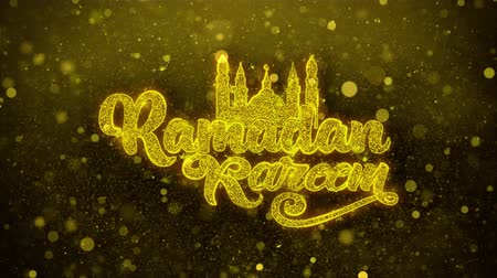 mesquita : Ramadan Kareem wish Text Golden Glitter Glowing Lights Shine Particles. Greeting card, Wishes, Celebration, Party, Invitation, Gift, Event, Message, Holiday, Festival 4K Loop Animation. Vídeos