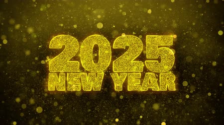 si přeje : 2025 New Year wish Text Golden Glitter Glowing Lights Shine Particles. Greeting card, Wishes, Celebration, Party, Invitation, Gift, Event, Message, Holiday, Festival 4K Loop Animation.