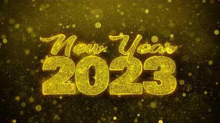 ano novo chinês : New Year 2023 wish Text Golden Glitter Glowing Lights Shine Particles. Greeting card, Wishes, Celebration, Party, Invitation, Gift, Event, Message, Holiday, Festival 4K Loop Animation. Vídeos