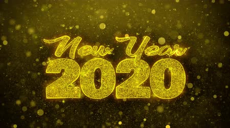 desejando : New Year 2020 wish Text Golden Glitter Glowing Lights Shine Particles. Greeting card, Wishes, Celebration, Party, Invitation, Gift, Event, Message, Holiday, Festival 4K Loop Animation. Stock Footage