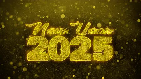 ano novo chinês : New Year 2025 wish Text Golden Glitter Glowing Lights Shine Particles. Greeting card, Wishes, Celebration, Party, Invitation, Gift, Event, Message, Holiday, Festival 4K Loop Animation. Vídeos