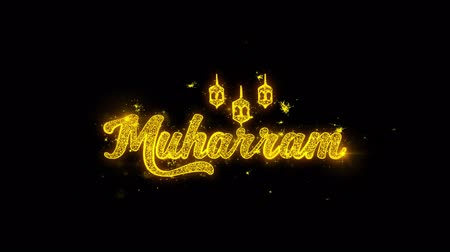 karbala : Muharram wish Text Sparks Glitter Particles on Black Background. Greeting card, Wishes, Celebration, Party, Invitation, Gift, Event, Message, Holiday, Festival 4K Loop Animation. Stock Footage