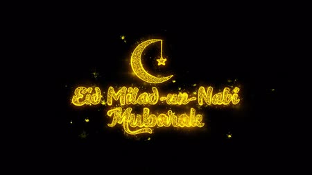 iftar : Eid Milad-un-Nabi wish Text Sparks Glitter Particles on Black Background. Greeting card, Wishes, Celebration, Party, Invitation, Gift, Event, Message, Holiday, Festival 4K Loop Animation.