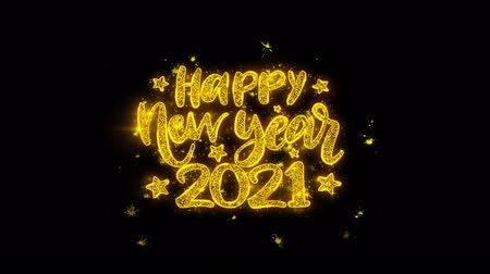 ano novo chinês : Happy New Year 2021 wish Text Sparks Glitter Particles on Black Background. Greeting card, Wishes, Celebration, Party, Invitation, Gift, Event, Message, Holiday, Festival 4K Loop Animation. Vídeos