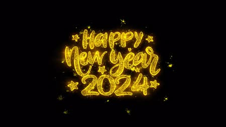 si přeje : Happy New Year 2024 wish Text Sparks Glitter Particles on Black Background. Greeting card, Wishes, Celebration, Party, Invitation, Gift, Event, Message, Holiday, Festival 4K Loop Animation.