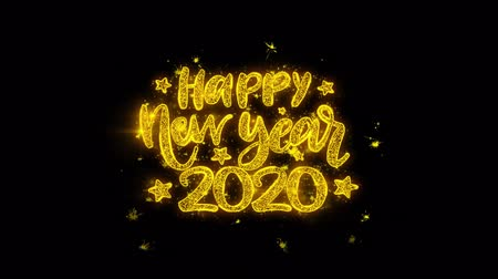 cny : Happy New Year 2020 wish Text Sparks Glitter Particles on Black Background. Greeting card, Wishes, Celebration, Party, Invitation, Gift, Event, Message, Holiday, Festival 4K Loop Animation.