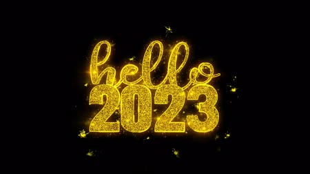축 하 하 : Hello 2023 New Year wish Text Sparks Glitter Particles on Black Background. Greeting card, Wishes, Celebration, Party, Invitation, Gift, Event, Message, Holiday, Festival 4K Loop Animation.