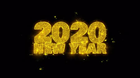 desejando : 2020 New Year wish Text Sparks Glitter Particles on Black Background. Greeting card, Wishes, Celebration, Party, Invitation, Gift, Event, Message, Holiday, Festival 4K Loop Animation.