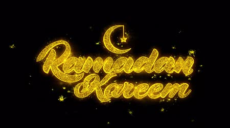 calligrafia araba : Ramadan Kareem wish Text Sparks Glitter Particles on Black Background. Greeting card, Wishes, Celebration, Party, Invitation, Gift, Event, Message, Holiday, Festival 4K Loop Animation.