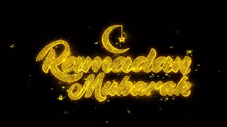 каллиграфия : Ramadan Mubarak wish Text Sparks Glitter Particles on Black Background. Greeting card, Wishes, Celebration, Party, Invitation, Gift, Event, Message, Holiday, Festival 4K Loop Animation.
