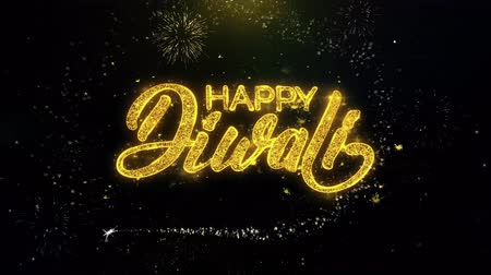 felicidade : Happy Diwali Text Wish on Gold Glitter Particles Spark Exploding Fireworks Display. Greeting card, Wishes, Celebration, Party, Invitation, Gift, Event, Message, Holiday, Festival 4K Loop Animation.