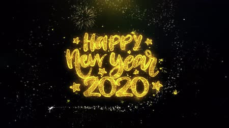 desejando : Happy New Year 2020 Text Wish on Gold Glitter Particles Spark Exploding Fireworks Display. Greeting card, Wishes, Celebration, Party, Invitation, Gift, Event, Message, Holiday, Festival 4K Loop Animation.