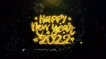 gratulací : Happy New Year 2022 Text Wish on Gold Glitter Particles Spark Exploding Fireworks Display. Greeting card, Wishes, Celebration, Party, Invitation, Gift, Event, Message, Holiday, Festival 4K Loop Animation.