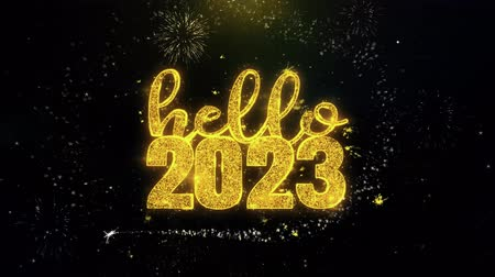 ano novo chinês : Hello 2023 New Year Text Wish on Gold Glitter Particles Spark Exploding Fireworks Display. Greeting card, Wishes, Celebration, Party, Invitation, Gift, Event, Message, Holiday, Festival 4K Loop Animation. Vídeos