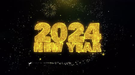 cny : 2024 New Year Text Wish on Gold Glitter Particles Spark Exploding Fireworks Display. Greeting card, Wishes, Celebration, Party, Invitation, Gift, Event, Message, Holiday, Festival 4K Loop Animation.