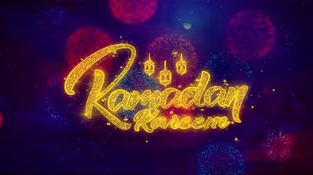 hónapokban : Ramadan Kareem wish Text Colorful Firework Explosion Particles. Greeting card, Wishes, Celebration, Party, Invitation, Gift, Event, Message, Holiday Festival 4K Loop Animation