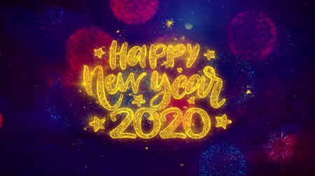 feliz : Happy New Year 2020 wish Text Colorful Firework Explosion Particles. Greeting card, Wishes, Celebration, Party, Invitation, Gift, Event, Message, Holiday, Festival 4K Loop Animation.