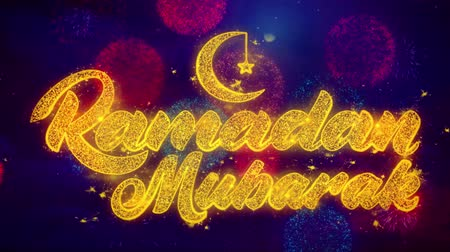 kaligrafia : Ramadan Mubarak wish Text Colorful Firework Explosion Particles. Greeting card, Wishes, Celebration, Party, Invitation, Gift, Event, Message, Holiday Festival 4K Loop Animation
