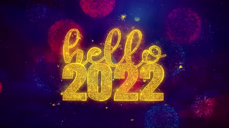 ano novo chinês : Hello 2022 wish Text Colorful Firework Explosion Particles. Greeting card, Wishes, Celebration, Party, Invitation, Gift, Event, Message, Holiday Festival 4K Loop Animation