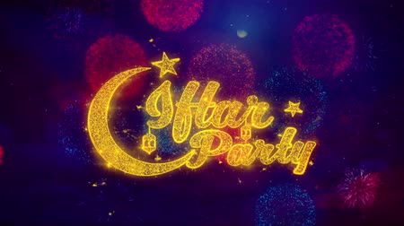 iftar : Iftar Party wish Text Colorful Firework Explosion Particles. Greeting card, Wishes, Celebration, Party, Invitation, Gift, Event, Message, Holiday Festival 4K Loop Animation