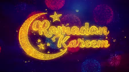 kaligrafia : Ramadan Kareem wish Text Colorful Firework Explosion Particles. Greeting card, Wishes, Celebration, Party, Invitation, Gift, Event, Message, Holiday Festival 4K Loop Animation