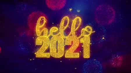 desejando : Hello 2021 wish Text Colorful Firework Explosion Particles. Greeting card, Wishes, Celebration, Party, Invitation, Gift, Event, Message, Holiday Festival 4K Loop Animation