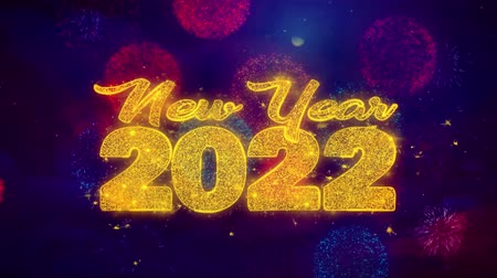 desejando : New Year 2022 wish Text Colorful Firework Explosion Particles. Greeting card, Wishes, Celebration, Party, Invitation, Gift, Event, Message, Holiday Festival 4K Loop Animation Stock Footage