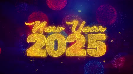 convite : New Year 2025 wish Text Colorful Firework Explosion Particles. Greeting card, Wishes, Celebration, Party, Invitation, Gift, Event, Message, Holiday Festival 4K Loop Animation