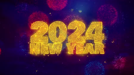 anos : 2024 New Year wish Text Colorful Firework Explosion Particles. Greeting card, Wishes, Celebration, Party, Invitation, Gift, Event, Message, Holiday Festival 4K Loop Animation