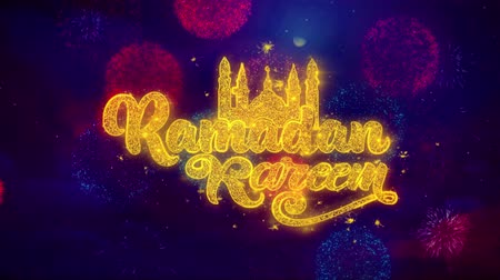 Аллах : Ramadan Kareem wish Text Colorful Firework Explosion Particles. Greeting card, Wishes, Celebration, Party, Invitation, Gift, Event, Message, Holiday Festival 4K Loop Animation