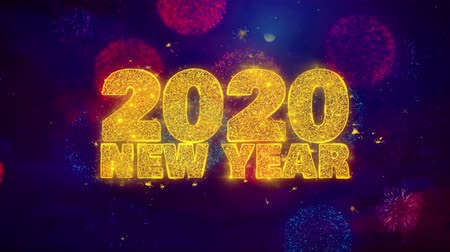 yeni : 2020 New Year wish Text Colorful Firework Explosion Particles. Greeting card, Wishes, Celebration, Party, Invitation, Gift, Event, Message, Holiday Festival 4K Loop Animation Stok Video