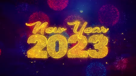 ano novo chinês : New Year 2023 wish Text Colorful Firework Explosion Particles. Greeting card, Wishes, Celebration, Party, Invitation, Gift, Event, Message, Holiday Festival 4K Loop Animation