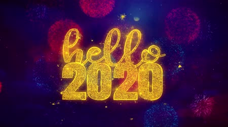si přeje : Hello 2020 wish Text Colorful Firework Explosion Particles. Greeting card, Wishes, Celebration, Party, Invitation, Gift, Event, Message, Holiday Festival 4K Loop Animation
