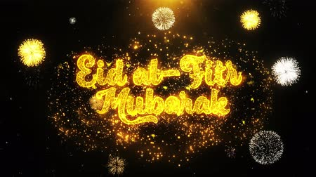 kaligrafia : Eid al-Fitr mubarak Text wish on Firework Display Explosion Particles. Greeting card, Wishes, Celebration, Party, Invitation, Gift, Event, Message, Holiday, Festival 4K Loop Animation. Wideo