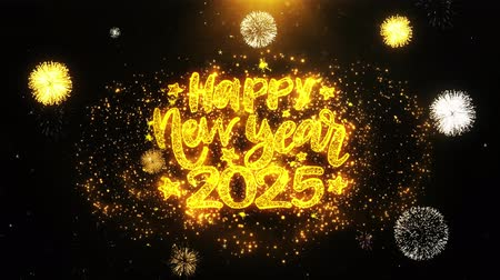 gratulací : Happy New Year 2025 Text wish on Firework Display Explosion Particles. Greeting card, Wishes, Celebration, Party, Invitation, Gift, Event, Message, Holiday, Festival 4K Loop Animation.