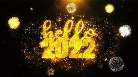 christmas party : Hello 2022 New Year Text wish on Firework Display Explosion Particles. Greeting card, Wishes, Celebration, Party, Invitation, Gift, Event, Message, Holiday, Festival 4K Loop Animation.
