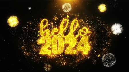 desejando : Hello 2024 New Year New Year Text wish on Firework Display Explosion Particles. Greeting card, Wishes, Celebration, Party, Invitation, Gift, Event, Message, Holiday, Festival 4K Loop Animation. Stock Footage