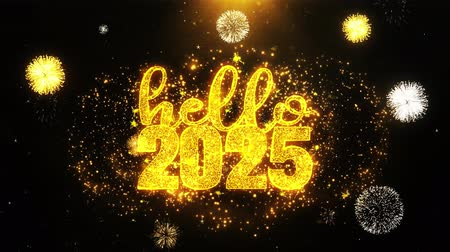desejando : Hello 2025 New Year Text wish on Firework Display Explosion Particles. Greeting card, Wishes, Celebration, Party, Invitation, Gift, Event, Message, Holiday, Festival 4K Loop Animation. Stock Footage