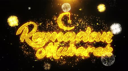 Аллах : Ramadan Mubarak Text wish on Firework Display Explosion Particles. Greeting card, Wishes, Celebration, Party, Invitation, Gift, Event, Message, Holiday, Festival 4K Loop Animation. Стоковые видеозаписи