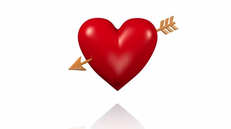 bizonyítani : One Big Red Beating Heart with Golden Arrow Passing Through with White Background Stock mozgókép