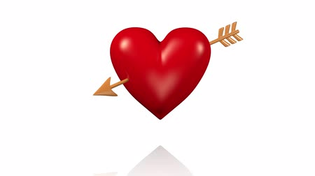 bizonyítani : One Big Red Beating Heart with Golden Arrow with White Background Stock mozgókép