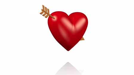 bizonyítani : One Big Red Heart With A Golden Arrow Turning with White Background Stock mozgókép