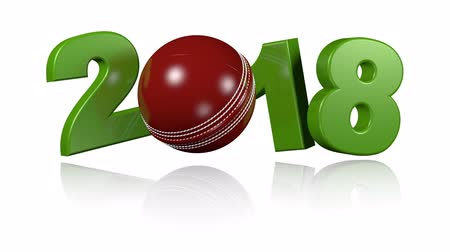 подача : Cricket ball 2018 in infinite rotation with a white background Стоковые видеозаписи
