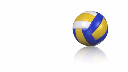 voleibol : Close-up on a beach volleyball ball turning on a white reflecting floor Vídeos