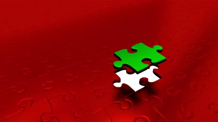 propagação : One Green Puzzle Piece transform all other Red Puzzle Pieces into Green Stock Footage